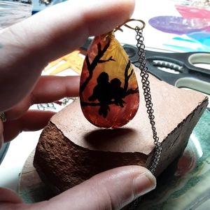 Jewelry - Hand painted bird pendant